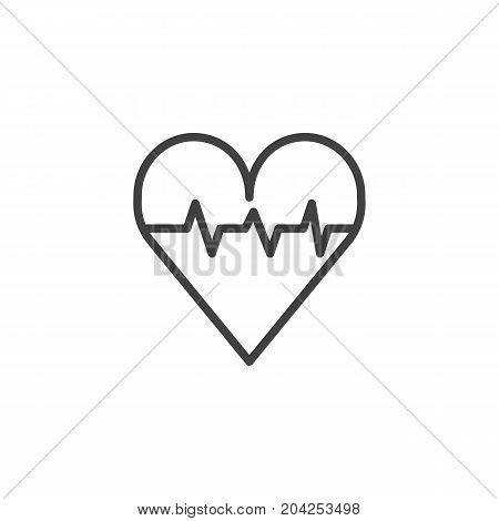 Heart with pulse line icon, outline vector sign, linear style pictogram isolated on white. Cardiology symbol, logo illustration. Editable stroke