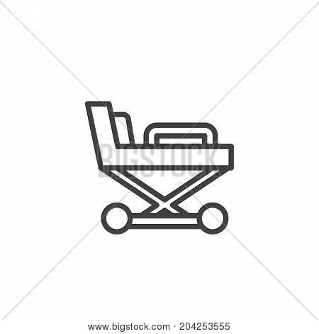 Hospital stretcher line icon, outline vector sign, linear style pictogram isolated on white. Medicine and Health symbol, logo illustration. Editable stroke