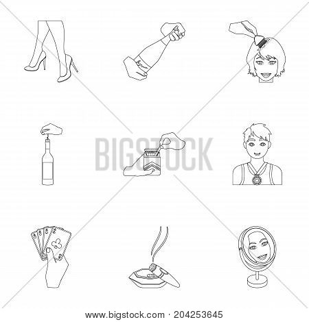 Darts, mirror with reflection, cigar in an ashtray, a bottle of champagne and other  icon in outline style. Combination of cards in hand, a bottle of wine and a glass, hair cutting, heeled shoes icons in set collection.