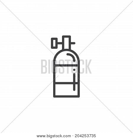 Oxygen tank line icon, outline vector sign, linear style pictogram isolated on white. Symbol, logo illustration. Editable stroke