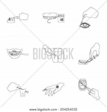 Anesthetic injection, examination of the tooth and other  icon in outline style. wound treatment, vision check icons in set collection.