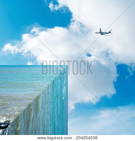 90 degree angle of the sea and the sky on the plane three-dimensional fantasy landscape exaggerated creativity.
