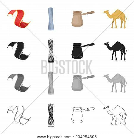 The Persian rug, the Shanghai tower, the Turk for coffee, the Arabian camel. United Arab Emirates set collection icons in cartoon black monochrome outline style vector symbol stock illustration .
