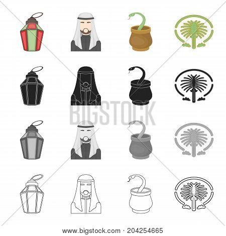 Feast of Ramadan, the Arab sheik, the snake in the basket, the island Palm Jumeirah.United Arab Emirates set collection icons in cartoon black monochrome outline style vector symbol stock illustration .