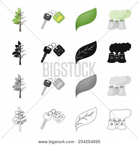 Degenerate tree, electric car key, bio, sheet, air emissions, pollution. Ecology set collection icons in cartoon black monochrome outline style vector symbol stock illustration .