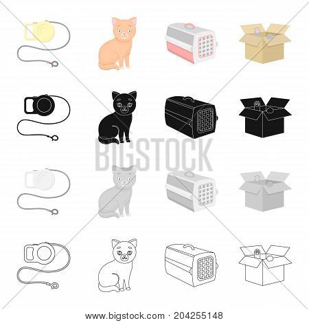 Leash for an animal, a cat, a container for an animal, a kitten in a box.Cat set collection icons in cartoon black monochrome outline style vector symbol stock illustration .