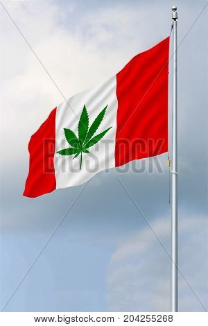 Red and white Canadian flag with a green pot leaf waving in the wind on a flagpole