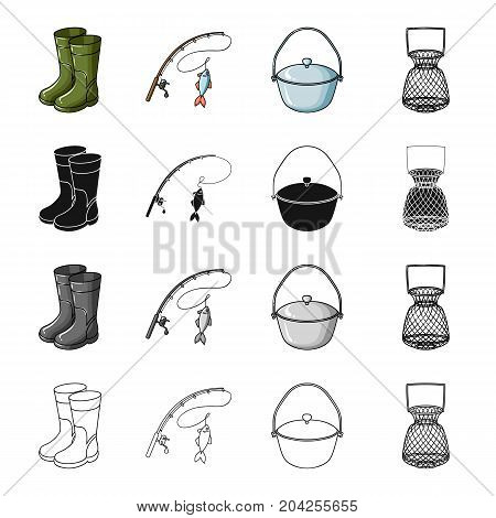 Rubber boots, spinning for fishing, bowler, fish tank. Fishing set collection icons in cartoon black monochrome outline style vector symbol stock illustration .