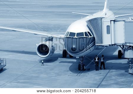 The plane stops at the international airport Shanghai China.