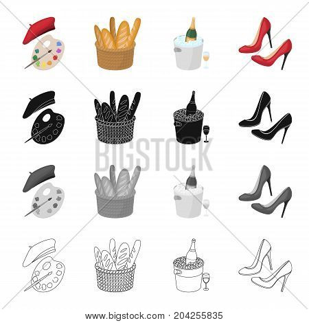 A palette of colors and beret, a French loaf, champagne chilled, women's shoes with heels. France set collection icons in cartoon black monochrome outline style vector symbol stock illustration .