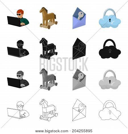 Hacker and computer, Trojan horse, envelope and key, cloud under lock. Hacker and hacking set collection icons in cartoon black monochrome outline style vector symbol stock illustration .