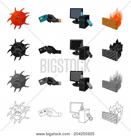 Hacking credit cards, worms in a computer system, a dangerous virus, Firewall. Hacker and hacking set collection icons in cartoon black monochrome outline style vector symbol stock illustration .