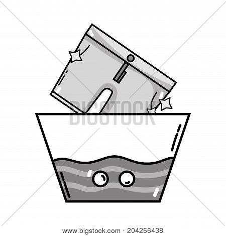 grayscale clean shorts soaking in pail with water vector illustration