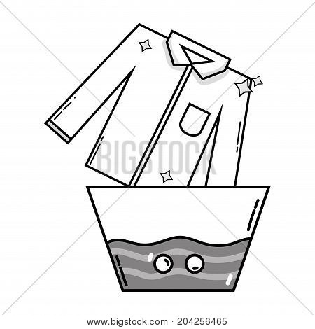 grayscale clean shirt soaking in pail with water vector illustration