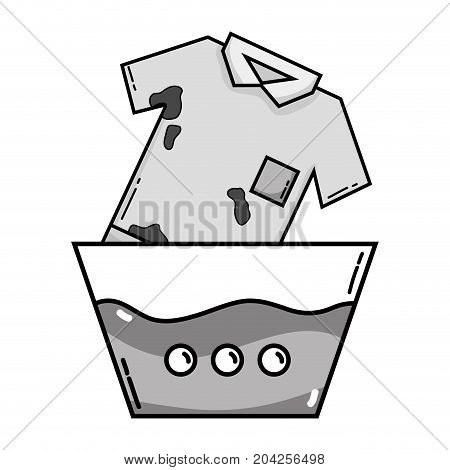grayscale clean t-shirt soaking in pail with water vector illustration