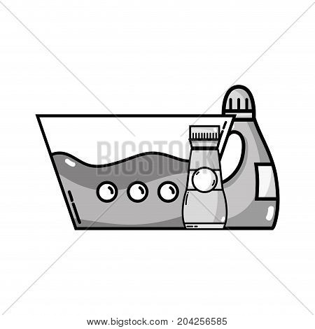 grayscale water pail with detergent liquid and softener bottle vector illustration