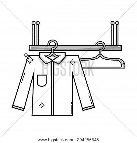 grayscale shelf design with clothes hanging icon vector illustration