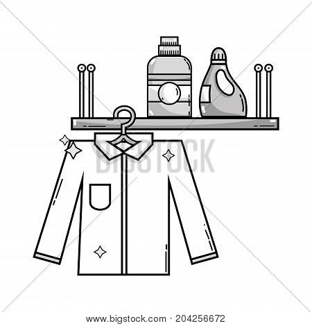 grayscale shelf with detergent bottle and clothes hanging vector illustration