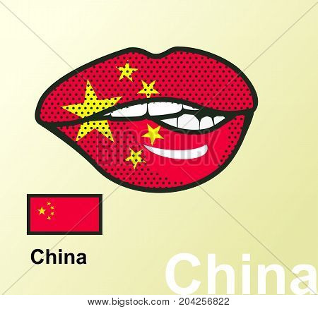 Vector illustration of lip painted China flag isolated foreign language national symbols