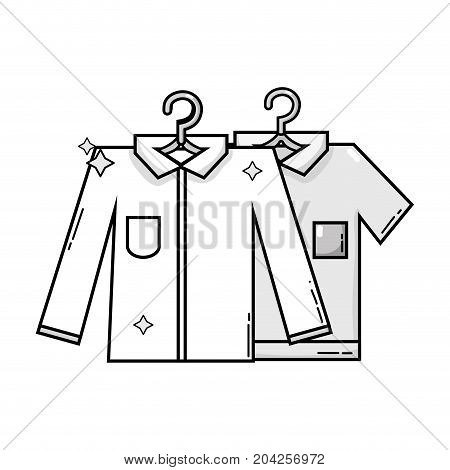 grayscale clean shirts design with clothes hanging vector illustration