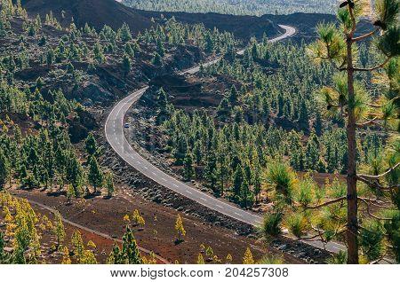 Winding road in Teide National Park Tenerife island Spain