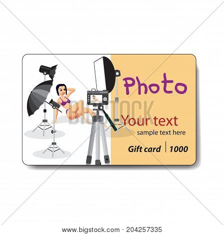 Young woman in swimsuit sitting posing on white background. Club card or flyer. Sale discount gift card. Branding design for a photo studio or a photographic store