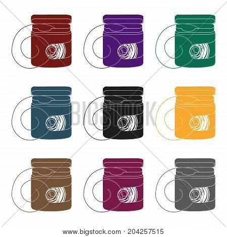 Dental floss icon in black style isolated on white background. Dental care symbol vector illustration.