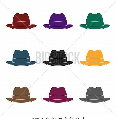 Brown hat with a brim. Headdress investigator for cover.Detective single icon in blake style vector symbol stock web illustration.