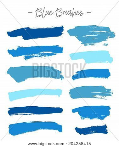 Vector brushes. Set of blue ink on white background. Elements for design. Abstraction.