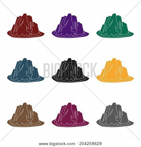 High steep mountain with grass the dark colors with sharp spikes.Different mountains single icon in black style vector symbol stock web illustration.
