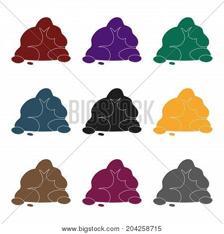 The small gray slide.A mountain that consists of a large number of small stones.Different mountains single icon in black style vector symbol stock web illustration.
