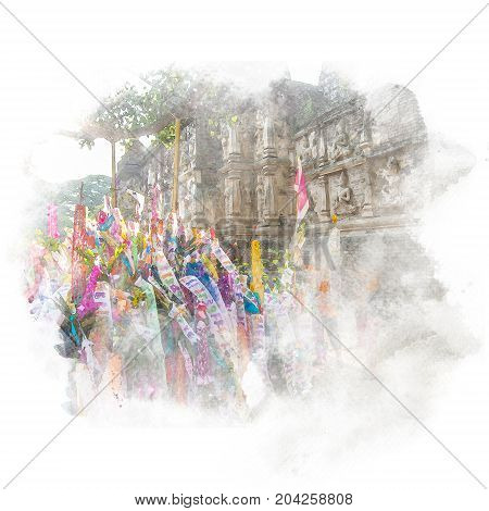 Traditional paper flag that people brought to merit with sanctuary on background in the temple (public place). Watercolor painting (retouch).