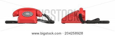 3d rendering of an old-fashioned rotary phone in front and side view on white background. Emergency number. Red phone. Secure line.