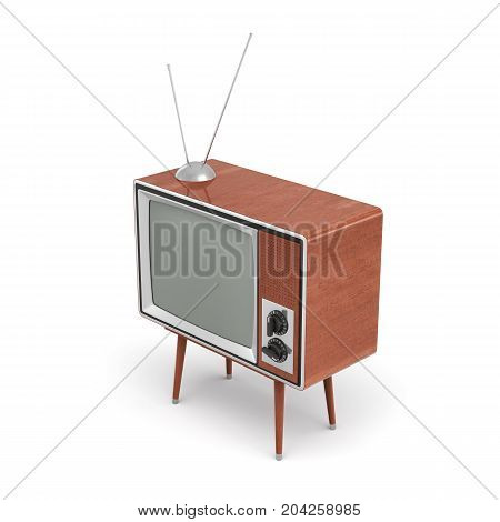3d rendering of a blank retro TV set with an antenna stands on a low four legged table on white background. Leisure and entertainment. Home appliances. Old style tech.