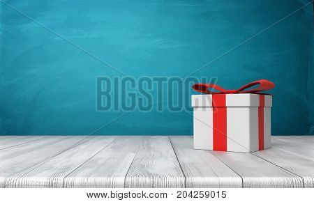 3d rendering of a lone white gift box with a red bow standing on a wooden desk in front of a blue background. Gifts and surprises. Special bonus. One time offer.