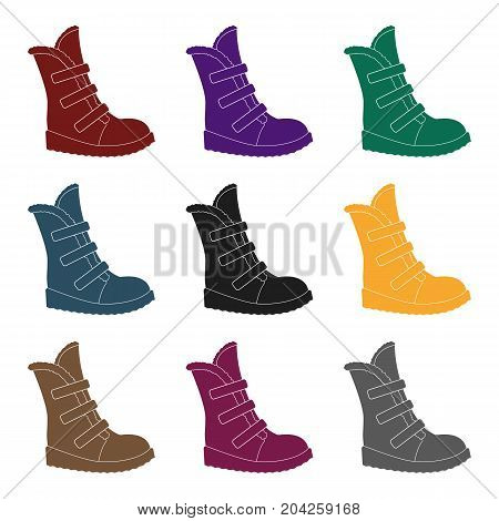 Tall winter boots made of wool with Velcro. Shoes for explorers.Different shoes single icon in black style vector symbol stock web illustration.