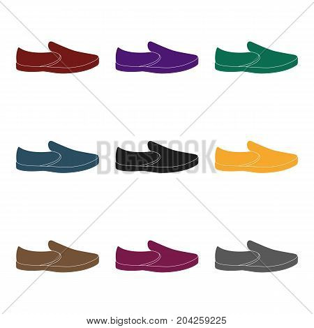 Blue men summer espadrilles . Summer comfortable shoes on the bare feet for everyday wear.Different shoes single icon in black style vector symbol stock web illustration.