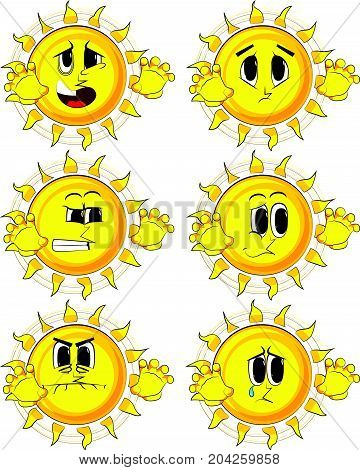 Cartoon sun is trying to scare you. Collection with sad faces. Expressions vector set.