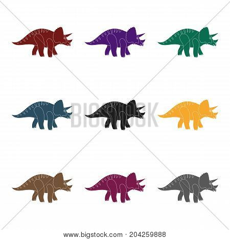 Dinosaur Triceratops icon in black design isolated on white background. Dinosaurs and prehistoric symbol stock vector illustration.