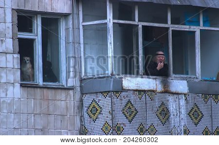 Zhytomyr, Ukraine - May 14, 2015: Contemplating, loving retiree and his loyal fluffy dog peek out of an old opened window.