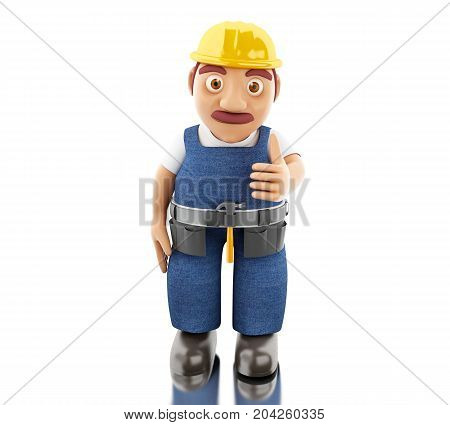 3d illustration. Construction worker with tools. Isolated white background