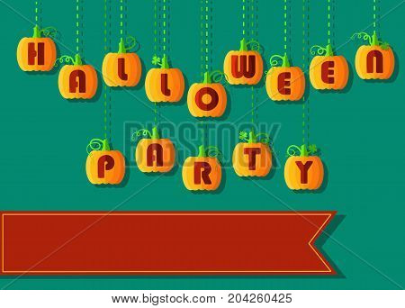 Invitation to Halloween Party. Funny pumpkin font. Orange geometric pumpkins with red signs. Jack of the Lantern. red banner for custom text. illustration
