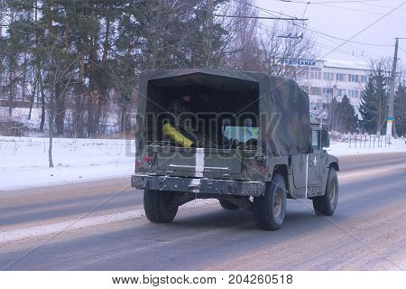 Zhytomyr, Ukraine - MARCH 14, 2014: Old military car old army transport car