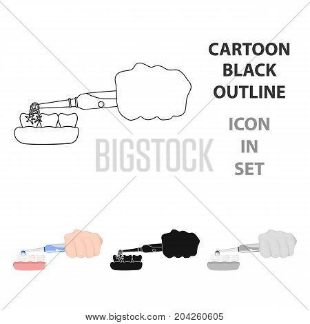 Cleaning the teeth with an electronic toothbrush. Dental hygiene single icon in cartoon style vector symbol stock illustration .