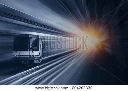 Fast Speed Train In Metro At High Speedy With Motion Blur Effect For Moving Fastest Business Transpo