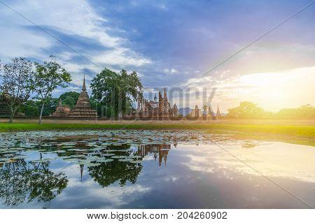 Sukhothai Historical Park Landscape Wide Angle View At Sukhothai World Heritage Site, Thailand,unesc