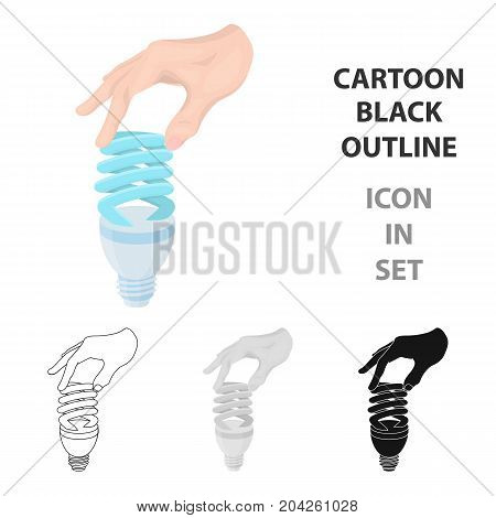 Fluorescent, saving light bulb in hand. Electric lamp single icon in cartoon style vector symbol stock illustration .