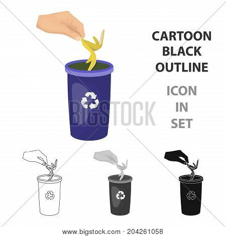 Emission of banana peel into the garbage can for waste. Rubbish and Ecology single icon in cartoon style vector symbol stock illustration .