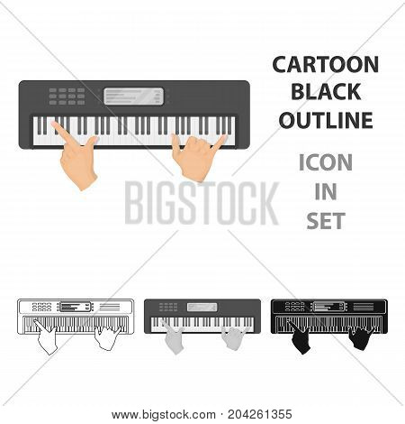 Playing on an electronic keyboard instrument. Synthesizer, Electroorgan single icon in cartoon style vector symbol stock illustration .