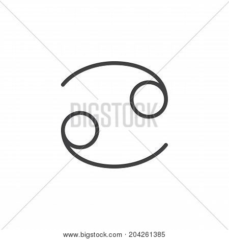 Cancer zodiac sign line icon, outline vector sign, linear style pictogram isolated on white. Astrology symbol, logo illustration. Editable stroke.